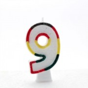 """Number 9 Multicoloured Double Sided Glitter Birthday Party Candle - 3""""/7.5cm"""