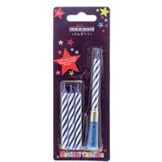 Dark Blue & White Stripe Musical Birthday Party Wax Cake Candle - Three Refills