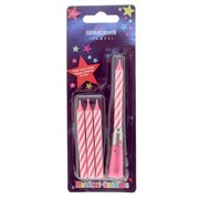 Hot Pink & White Stripe Musical Birthday Party Wax Cake Candle - Three Refills