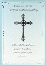 "Confirmation Day Greetings Card - Silver Cross & Turquoise Border 7.5"" x 5.25"""