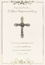 "Confirmation Day Greetings Card - Gold Cross & Little Pink Flowers 7.5"" x 5.25"""