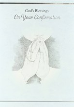 """Confirmation Day Greetings Card - Young Boy Praying & Rosary Beads 7.5"""" x 5.25"""""""