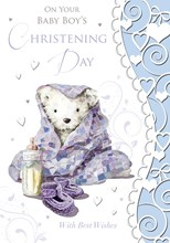 Baby Boy Christening Greeting Card - Grey Bear, Bottle & Blue Blanket 7.5x5.25""