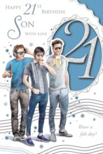 """Son's 21st Birthday Card - 21 Today Men Listening To Music Drinking Beer 9"""" x 6"""""""
