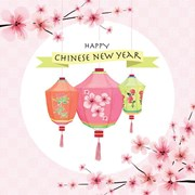 "Happy Chinese New Year Greetings Card - Bright Lanterns & Orchids 5.75"" x 5.75"""