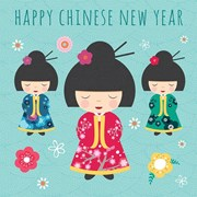 "Happy Chinese New Year Greetings Card - Oriental Dolls & Flowers 5.75"" x 5.75"""