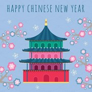 "Happy Chinese New Year Greetings Card - Bright Temple & Flowers 5.75"" x 5.75"""