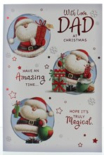 """Dad Christmas Card -Santa In Circles With Gifts Red Foil & Stars 7.5"""" x 5.25"""""""