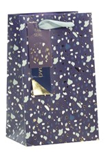 """Small Male Gift Bag - Blue with Green Gold Foil Speckles 7.75"""" x 6.25"""""""
