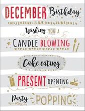 "December Birthday Christmas Card - Grey & White Striped & Big Writing  7.5x5.25"""