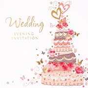 Pack Of 6 Wedding Evening Card Invitations & Envelopes - Pink Cake & Butterflies