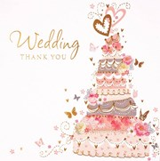 Pack Of 6 Thank You For The Wedding Gift Cards & Envelope - Cake & Butterflies