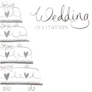 Pack Of 6 Wedding Day Card Invitations & Envelopes - Silver Foil Wedding Cake