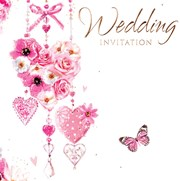 Pack Of 6 Wedding Day Card Invitations & Envelopes - Flowers Hearts & Butterfly