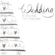 Multi Pack 36 Wedding Evening Card Invitations & Envelopes - Silver Wedding Cake