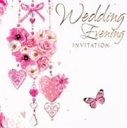 Multi Pack 36 Wedding Evening Card Invitation & Envelopes - Flower Heart
