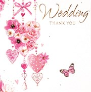 Pack 6 Thank You For Wedding Gift Cards & Envelopes - Flower Hearts & Butterfly