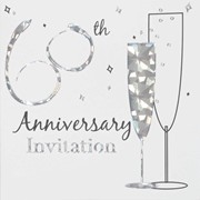 Pack Of 6 Diamond 60th Wedding Anniversary Party Card Invitations & Envelopes