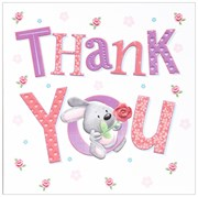 36 Multi Pack Thank You Cards & Envelopes - Cute Rabbit & Rose Flower