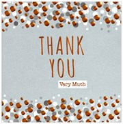 36 Multi Pack Thank You Cards & Envelopes - Grey with Copper White & Silver Dots