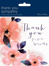 Pack Of 6 Thank You For Your Sympathy Cards & Envelopes - Floral Abstract