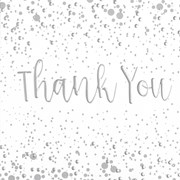 Pack Of 6 Thank You Cards & Envelopes - Silver Metallic Text & Little Grey Spots