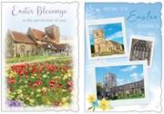 "Set of 2 Happy Easter Greetings Card - Churches & Daffodils Glitter 7.75x5.25"""