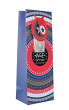"Bottle Male Gift Bag - Blue & Red Happy Birthday Make Your Own Age 14"" x 5"""
