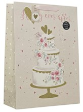"Extra Large Wedding Day Gift Bag - Happy Ever After Glitter Cake 13"" x 18"""