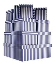 Set Of 10 Nested Square Gift Boxes - Modern Vertical Navy Blue & White Stripes