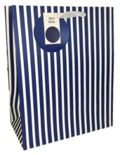 Large Navy Blue & White Stripes Gift Bag 33cm x 26.5cm x 14cm - Any Occasion