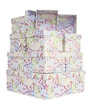 Set Of 10 Nested Square Gift Boxes - Big Multicoloured Pastel Butterfly Outlines