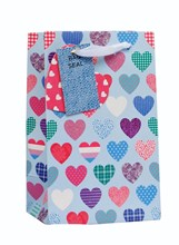 """Small Female Gift Bag - Vintage Pale Blue, Pink & Lilac Patterned Hearts 8"""" x 5"""""""