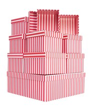 Set Of 10 Nested Square Gift Boxes - Modern Vertical Hot Pink & White Stripes