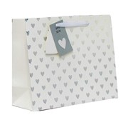"Large Unisex Gift Bag - Landscape White & Silver Metallic Hearts 10.5"" x 13"""