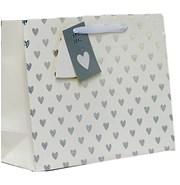 "Extra Large Unisex Gift Bag - Landscape White & Silver Metallic Hearts 13"" x 18"""