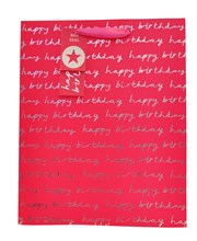 """2 x Large Female Gift Bags - Hot Pink & Silver Happy Birthday Text 13"""" x 10.25"""""""
