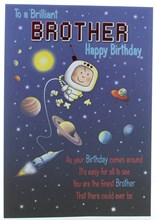 """Brother Birthday Card - Boy in Space with Rocket Planets & Red Foil 9"""" x 6.5"""""""