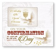 """On Your Confirmation Day Art Deco Photo Frame - Religious Verse & Dove 8.5"""" x 9"""""""
