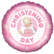 "Round 18"" Christening Foil Helium Balloon (Not Inflated) - Pink Rabbit & Blanket"