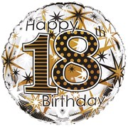 """Round 18"""" 18th Birthday Foil Helium Balloon (Not Inflated) - Age 18 Unisex"""