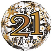 """Round 18"""" 21st Birthday Foil Helium Balloon (Not Inflated) - Age 21 Unisex"""