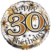 """Round 18"""" 30th Birthday Foil Helium Balloon (Not Inflated) - Age 30 Unisex"""