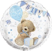 """Round 18"""" Baby Boy Foil Helium Balloon (Not Inflated) - Bear, Balloons & Bunting"""
