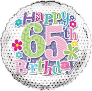 """Round 18"""" 65th Birthday Foil Helium Balloon (Not Inflated) - Age 65 Female Spots"""