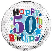 """Round 18"""" 50th Birthday Foil Helium Balloon (Not Inflated) - Age 50 Male Stars"""