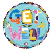 "Round 18"" Get Well Soon Foil Helium Balloon (Not Inflated) - Bright Text & Fruit"