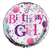 "Round 18"" Happy Birthday Foil Helium Balloon (Not Inflated) - Birthday Girl"