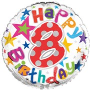 """Round 18"""" 8th Birthday Foil Helium Balloon (Not Inflated) - Age 8 Unisex Stars"""