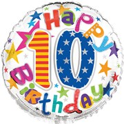 """Round 18"""" 10th Birthday Foil Helium Balloon (Not Inflated) - Age 10 Unisex Stars"""